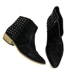 Bucco Black Suede Studded Pointed Ankle Booties